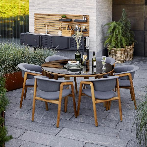 Garden Life Outdoor Living - Cane-line Aspect + Luna kerti luxus étkezőgarnitúra (6 személyes)